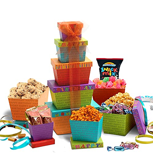 Broadway Basketeers Birthday Celebration Gift Tower, Snack Box, Candy, Toffees, Chocolates, Cookies, and Popcorn, Kosher Certified Birthday Gifts