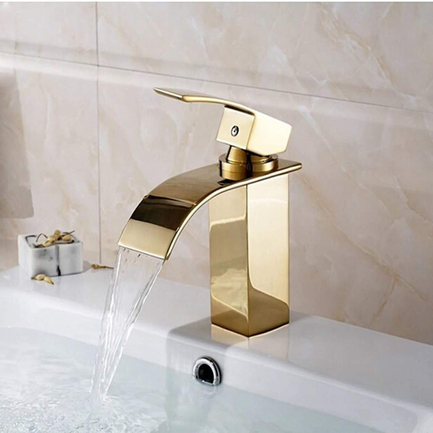 SLTZUB Deck Mount Waterfall Bathroom Faucet anity essel Sinks Mixer Tap golden Basin Faucets Wholesale And Retail