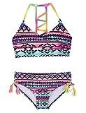 Hilor Girl's Strappy Bikini Set Two Piece Swimsuits Side Tie Hipster Swimwear Tassels Tankini Set Stripes L/10-12