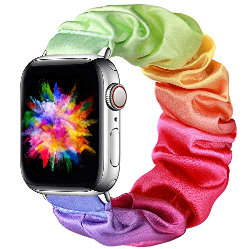 Easuny Scrunchie Bands Compatible for Apple Watch SE Series 6 44mm Women - Soft Cloth Scrunchy Elastic Bracelet Wristband Strap Replacement for iWatch 42mm for Girls Series 3 2 1,Tie-dye Rainbow Small