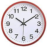 Hoston Reloj de Pared Moderno,Grandes Silencioso Interior Reloj de Cuarzo Redondo sin tictac Decorativos Reloj Pared para Sala Cocina, Dormitorio, Oficina. (Plástico-Rojo)