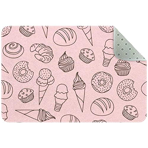 Indoor Doormat, Front Door Mat, Non-Slip Backing Absorbent Resist Dirt, Machine Washable Rugs for Door Entrance Floor Mat Desserts Ice Creams Donuts Cake