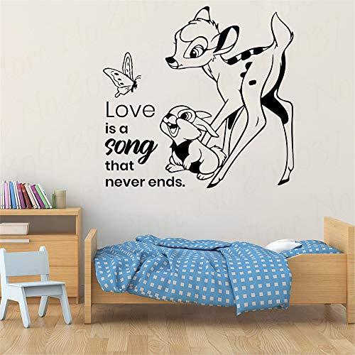 PSpXU Fawn Cartoon Wandaufkleber mit Leben Zitat Schmetterling Kaninchen Kind Schlafzimmer Kinderzimmer Tür Dekoration Fenster Wandbild Vinyl Aufkleber61XX57CM