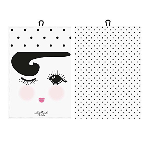 Miss Etoile Tea Towel Open and Closed/dots 2 Ass. wht W:50 H:70 cm [W]