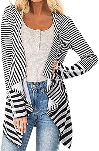 Women Cardigan Striped Open Front Long Sleeve Coat Parka Outwear Cardigan Coat Tops