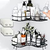 Corner shower caddy 2 PACK Shower Organizer Corner with 8 Pack Powerful Adhesive Hooks Wall Mounted Steel Rust proof Shower Rack No Drilling Corner shower shelf For Toilet Dorm And Kitchen (Black)