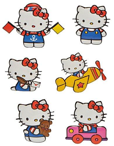 alles-meine.de GmbH 6 TLG. Set: 3-D Effekt _ Wandtattoo / Fensterbild / Sticker -  Kätzchen - Hello Kitty  - wasserfest - selbstklebend Pop-Up Aufkleber Wandsticker Katze