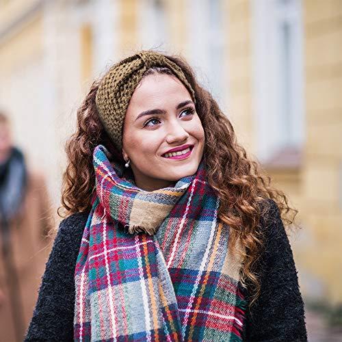 DRESHOW Damen Schleife Design Stirnband Winter Kopfband Haarband Stirnband Häkelarbeit - 7