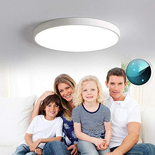 HAITOY Plafón LED con Detector De Movimiento, Luz De Panel De Techo LED Ultradelgada para Montaje En Superficie, para Gargage, Escalera, Porche, Pasillo, Diámetro 40 Cm / 15,74 Pulgadas