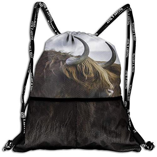 Lmtt Sac à Cordon pour Hommes/Femmes-Scotland Yak Fashion Lightweight Sackpack Casual Bundle Backpack for Sports, Travel, Gym, Training, Yoga