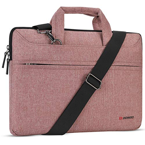 DOMISO 13.3 inch Laptop Sleeve Shoulder Bag Water-Resistant Protective Messenger Bag Business Briefcase Handbag for 13' MacBook Pro Retina/MacBook Air/13.3' Dell Inspiron/XPS 13/Asus/Lenovo/HP, Pink