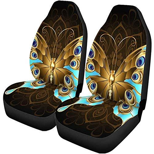 Peacock Autostoelhoezen, 2 stuks, versierd met gouden vlindersieraden, turquoise op mandala-patroon, stoelbeschermers voor auto, SUV limousine, vrachtwagen