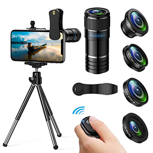 Phone Camera Lens, 5 in 1 iPhone Camera Lens Kit - 12x Telephoto Lens+180°Fisheye Lens+0.65x Wide Angle Lens+12x Macro Lens+Star Filter Lens,Phone Photography Video Lens with Tripod+Remote Shutter