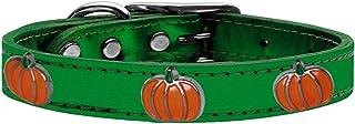 طوق من الجلد الطبيعي ذو لمعة معدنية للكلاب بحليات على شكل يقطين، مقاس 10، من ميراج بت برودكتس 83-115 EGM10، لون أخضر زمردي
