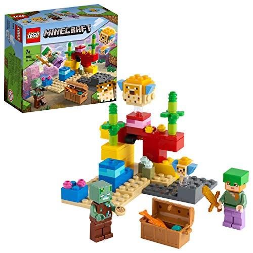LEGO 21164 Minecraft Das Korallenriff Bauset mit Alex, 2 Kugelfischen aus Bausteinen und mit Ertrunkenem...