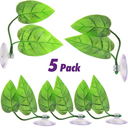 SBYURE 5 Pieces Betta Fish Leaf Hammock Fish Spawning Grounds Leaf Pad,Double Leaf Design Lightweight and Realistic,Comfortable and Safe