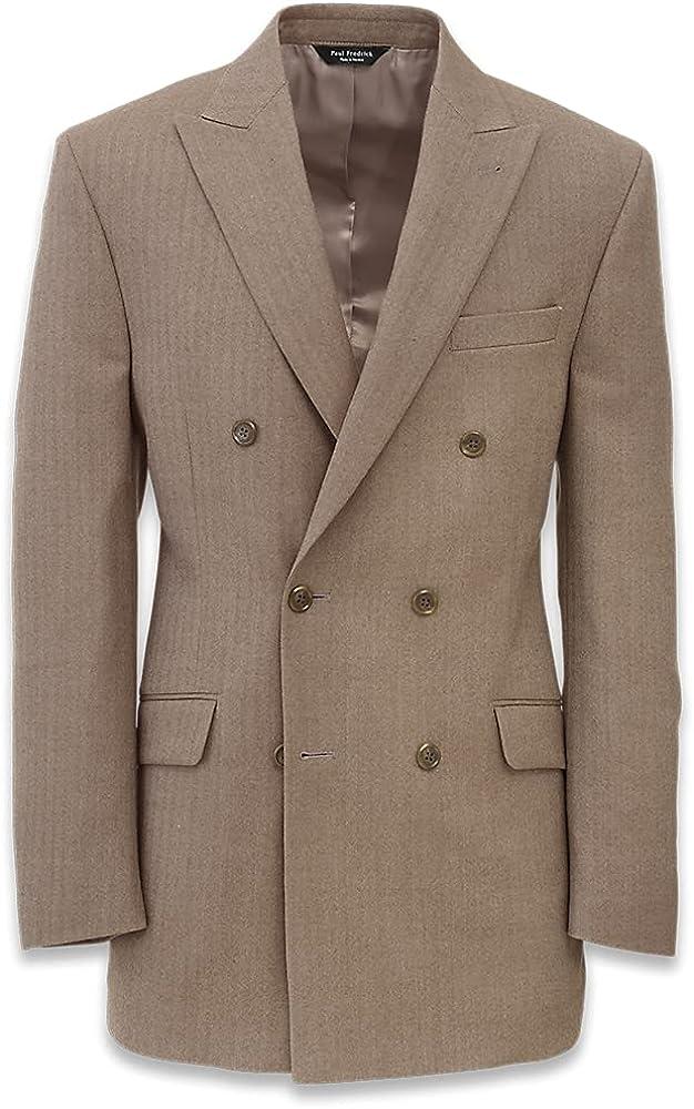 Paul Fredrick Wool Herringbone Double Breasted Suit Jacket, Camel