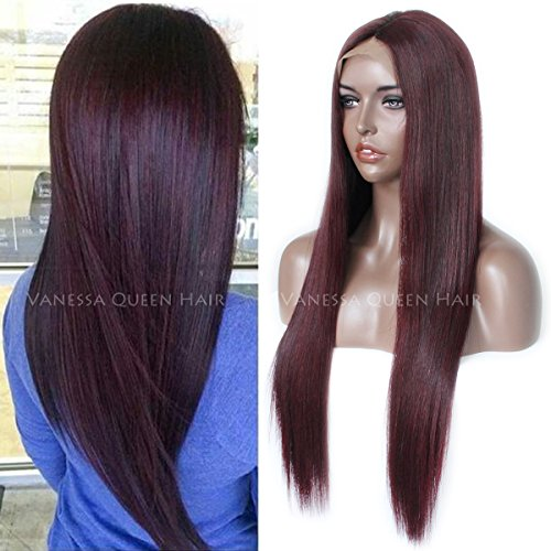 Maycaur Fashion Burgundy Full Lace Human Hair Wigs Silky Straight Lace Front Wig Virgin Hair Wigs (20inch, lace front wig 150 density)