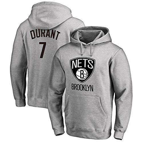 Sudadera para Hombre Fans de la NBA Jersey Brooklyn Nets Kevin Durant Sudadera con Capucha y Manga Larga con cordón Casual Cómodo Jersey S-XXXL Gris, M