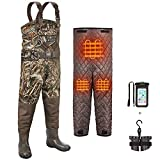 TIDEWE Breathable Hunting Waders Heated with Removable Insulated Liner, 1200G Insulation Chest Waders Realtree Max5, Waterproof Camo Fishing Waders(Size 7) (Battery Not Included)