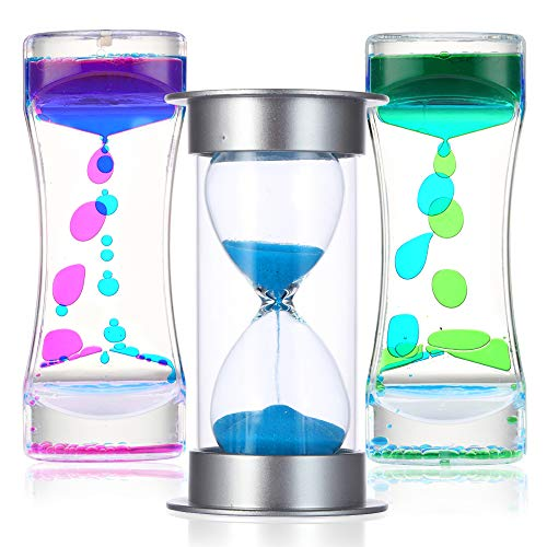 Liquid Motion and Sand Timers 3 Pcs Bundle, Fidget Sensory Toys, Calm Down and OT Tool Kit for Kids and Adults with Autism, ADD, and ADHD, Plastic and Glass Lava Lamp Bubble and Original Hourglass Set