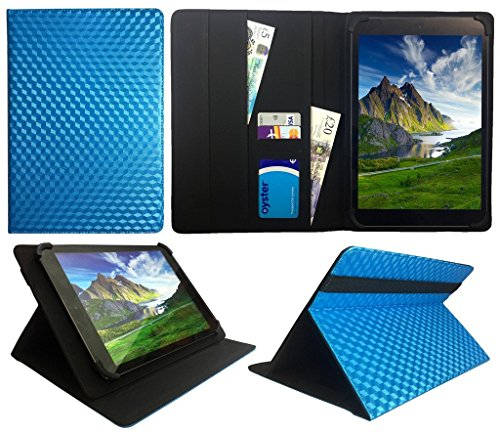 Archos 101 Platinum 3G Tablet / Diamond Tab ( 2017 ) 10.1 zoll Blue 3D Cube Universal Wallet Case Cover Folio ( 10 - 11 zoll ) von Sweet Tech