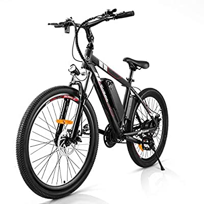 Rinkmo Electric Bike Adults Electric Mountain Bike 26in Power Assist Commuter Bicycle?20mph Ebike with Removable 10ah Battery, Professional 21 Speed Gears Disc Brakes Aluminum Bike