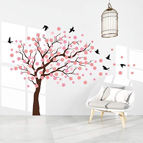 onetoze Wandtattoo Blumen Wandtattoo Baum Kirschblüten Wandtattoo Wandaufkleber Vögel Wandtatoo Sakura Wandsticker Schlafzimmer Wohnzimmer Wanddekoration Küche Flur,120x172cm