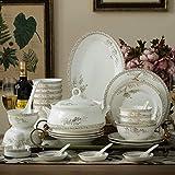 XUSHEN-HU - Set da tavola in ceramica con 48 pezzi, ciotola/pentola/piatto/cucchiaio|set da tavola in porcellana Bone China, set di combinazione in porcellana con lago dei cigni