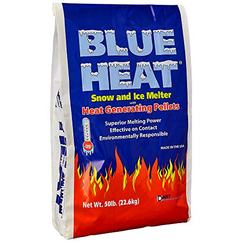 Lowest Price! Blue Heat Snow and Ice Melt – 50 Pound Bag – Industrial Grade Heat Generating Rock Salt Pellets – Calcium Chloride and Magnesium – Blue Tint – Concrete Safe – Works in -25° F