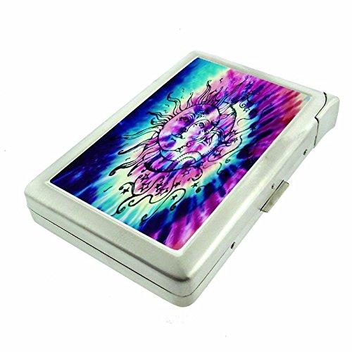 "Tie Dye Em1 Hip Silver Cigarette Case With Built In Lighter 4.75"" X 2.75"" Id Holder Metal Wallet RFID Protection"