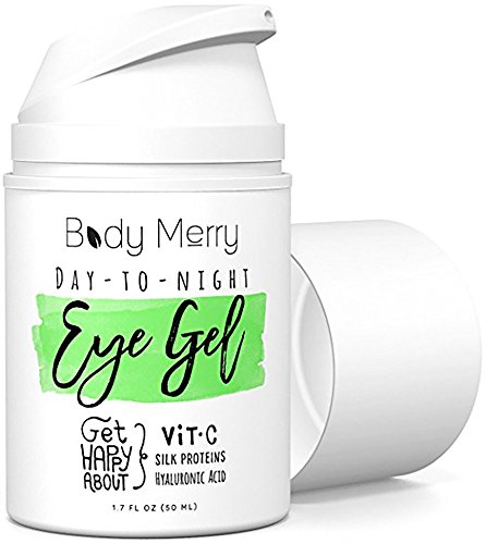 Body Merry Day-to-Night Eye Gel: Anti aging and under eye bags treatment with natural Hyaluronic Acid + Vitamin C to lift and combat dark circles, puffy eyes & fine lines for men/women