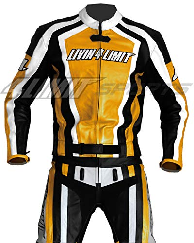 4LIMIT Sports Traje para Moto de Cuero, Amarillo/Negro/Blanco