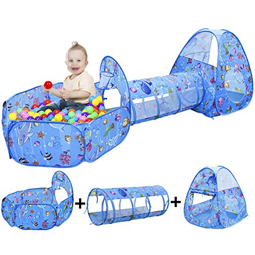 Ocean World-kindertent, met een 3-in-1-tunnelset, snel en automatisch stuiteren, ballenbad, rolgordijn, ontwerp van basketbalframe, draagbare verpakking