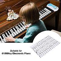 ピアノステッカーリムーバブルピアノステッカー透明ピアノステッカーピアノキーボードステッカーピアノキーボードステッカー61/88キー電子ピアノ(black)