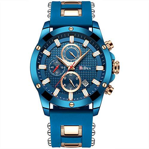 Men Watches Chronograph Business Fashion Waterproof Quartz Wrist Watches for Men Date Blue Rubber Strap Gift