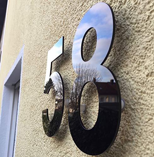 Hausnummer Hochglanz Acryl Schwarz RAL: 9H01 - Türnummer - Post Nummer - Plexiglas
