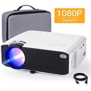"""Mini Projector, APEMAN 4000L Brightness 180"""" Display Projector [Carry Case Included], Support 1080P, 45,000 Hours LED Life, Compatible with TV Stick, TV Box, PS4, HDMI, VGA, TF, AV, USB for Home Movie"""