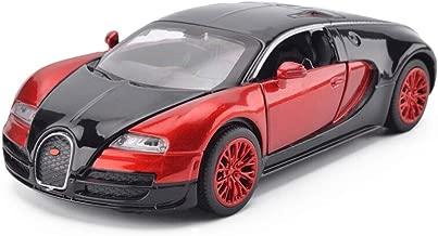 PLLP Juguetes Educativos, Juguetes para el Automóvil con Control Remoto, Decoración Del Hogar Buogatti Ss-Red Black Alloy Diecast Car Model Collection Lightsound Red con Embalaje de Color - 1/36 Mode