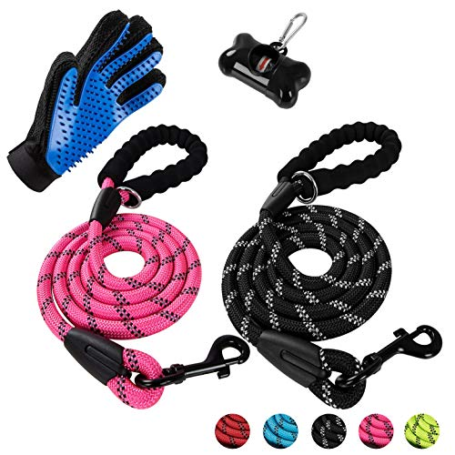 Poohoo 2 Pack Dog Leashes, 5 FT Heavy Duty Pet Leash with Comfortable Padded Handle and Highly Reflective Threads for Medium Large Dogs-Bag Dispenser and Pet Grooming Glove (Black Pink)