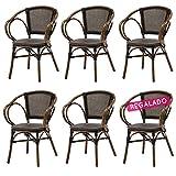 SOLDES : -51% Lot 6 fauteuils bistrot ELIE alu et textilène noir - Rotin Design Garden