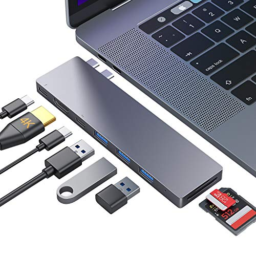 Ofima USB C Hub, MacBook Pro Air Adapter, USB-C Thunderbolt 3 100W PD, HDMI 4K, 3 USB-A 3.0 & USB-C, SD/TF Kartenleser, USB-C Adapter Hub für MacBook Pro 2016-2020, 13