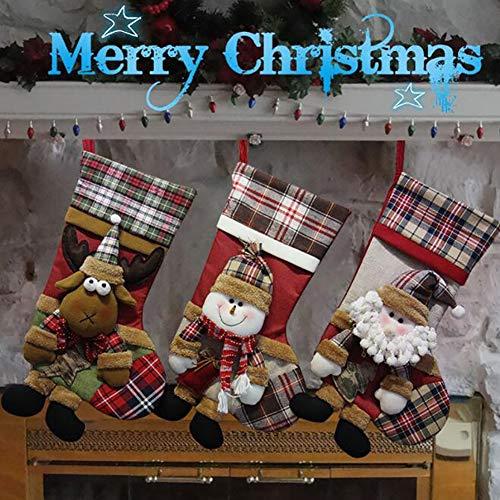 XGXQBS 3 PC kerstsokken, kerstsneeuwpop-ren-kerstkousen voor kerstboom haard hangend en feestdecoratie