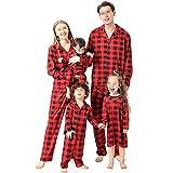 Conjunto de pijama de Navidad para padres e hijos con estampado de cuadros rojos y camisa de solapa + pantalones vestido mono de perro triangular babero ropa de dormir, Red Black Girl, 4-5 años