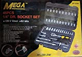 Hawk Mega Drive Socket Set, 46Pcs Spanner Socket Set 1/4' Car Repair Tool Ratchet Wrench Set Hand Tool