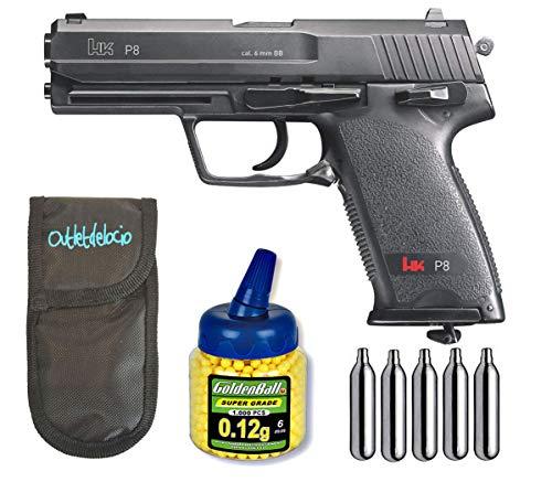 Outletdelocio Pistola Airsoft Umarex U25617. H&K P8. 2 Julios + Funda portabalines + 1000 Bolas + bombonas Co2. 23054/21993/29318