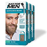 Just For Men Mustache & Beard, Beard Coloring for Gray Hair with Brush Included for Easy Application, With Biotin Aloe and Coconut Oil for Healthy Facial Hair - Blond, M-10/15, 3 Pack