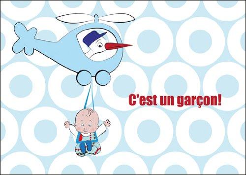 In 5-delige set: Blauwe Franse designer babykaart (jongen), wenskaart voor geboorte, weergavekaart met baby, stok en helikopter: C'est un garçon!