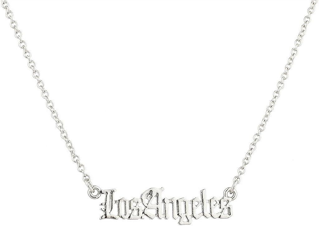 Lux Accessories Los Angeles City California Pendant Necklace