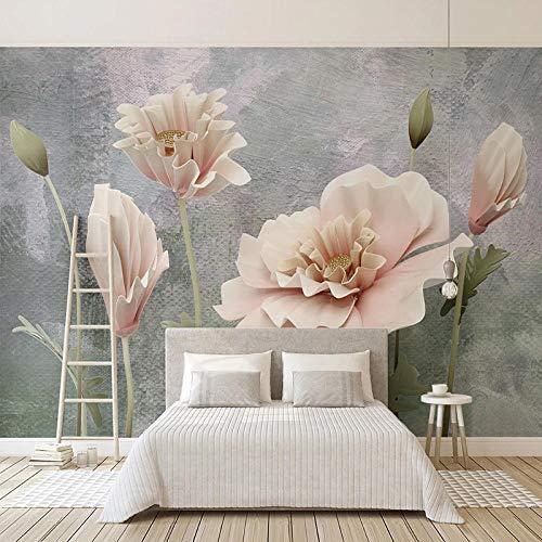 Papel pintado mural personalizado 3D flores estéreo cemento pared pintura sala de estar TV sofá dormitorio decoración pared papel pared pared pared 400 W × 280 H cm